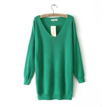 1616 2016 New Hot Casual Fashion Women's Sweater Large size Sexy Off Shoulder V-Neck Slim Knit Knitwear Sweater Dress tricotado(China (Mainland))