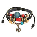 Fashion Jewelry Leather Bracelet Women Casual Personality Alloy Flower Blue Beaded Vintage Hand made Punk Bracelet