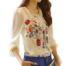 New 2016 Casual Basic new women Chiffon Blouse shirt large size Print Leisure render Korean style long sleeve Spring summer