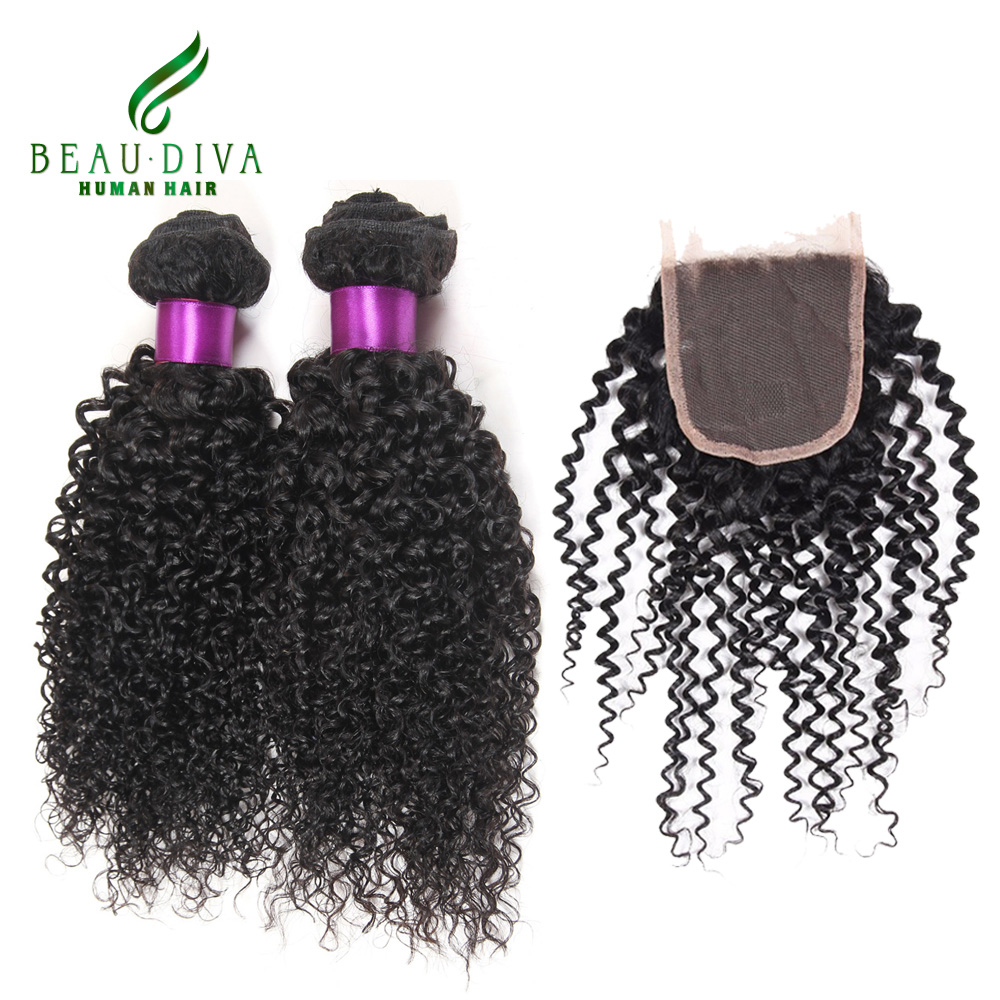 Mongolian Kinky Curly Hair With Closure 4 Bundles With Closure Mongolian Afro Kinky Curly Virgin Hair Human Hair With Closure