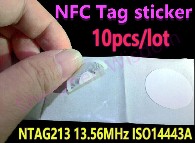 10pcs NTAG213 NFC Tags 13.56MHz ISO 14443A  All NFC Phone Available NFC Tag Sticker Adhesive Labels<br><br>Aliexpress