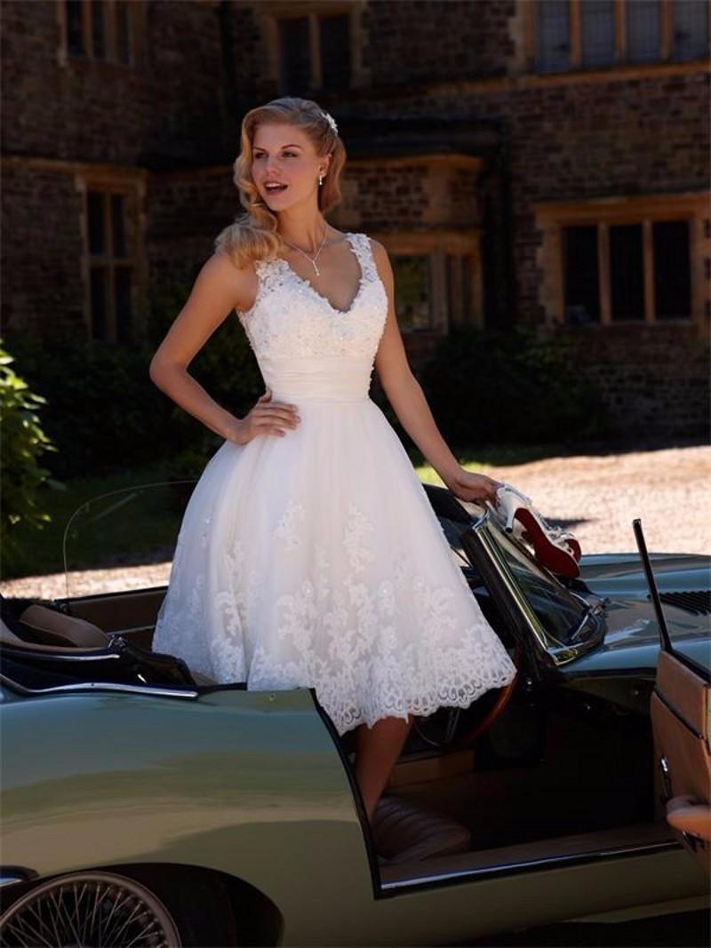 Buy 2016 short wedding dresses a line v for Buy a wedding dress
