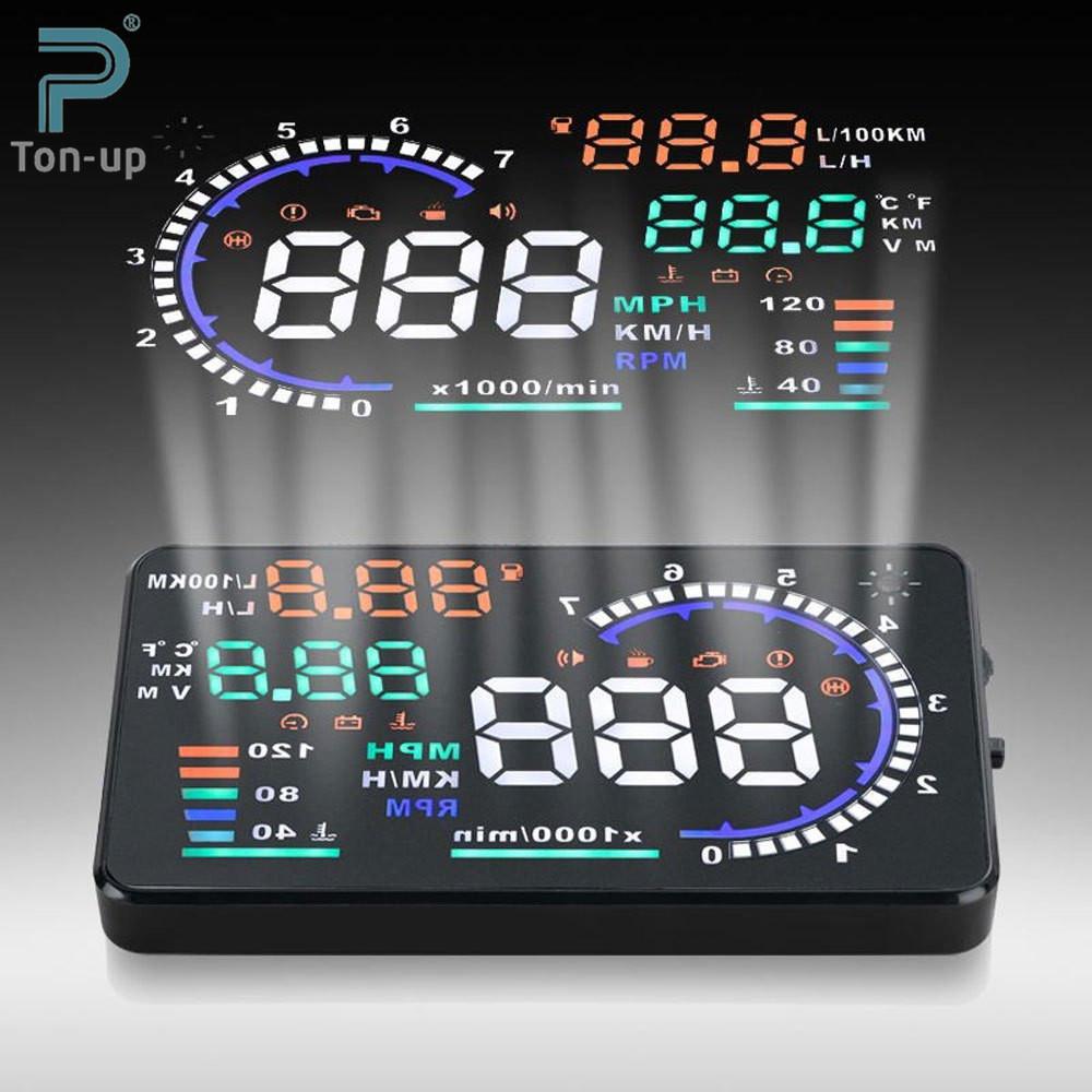 "5.5"" A8 Car HUD Head Up Display Projector Digital Light Self-adaptive Speeding Warning Fuel OBD II and EOBD Speedometers(China (Mainland))"