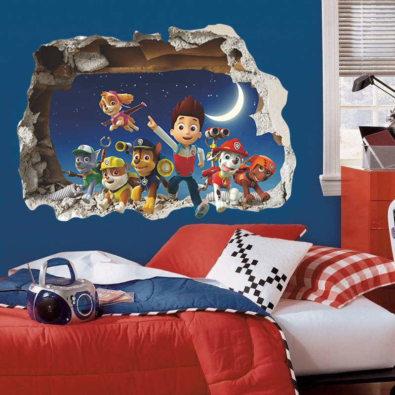 popular American children cartoon smart boy dogs friends home decal wall sticker for kids room bedroom decorative party gift toy(China (Mainland))