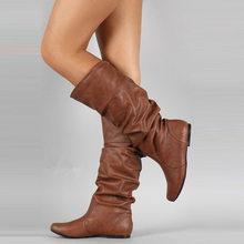 WETKISS Plus Größe 34-48 Mid-kalb Stiefel Einsatz Heels Frauen Plissee Stiefel Weibliche Runde Kappe Schuhe Flache schuhe Herbst Winter 2020(China)