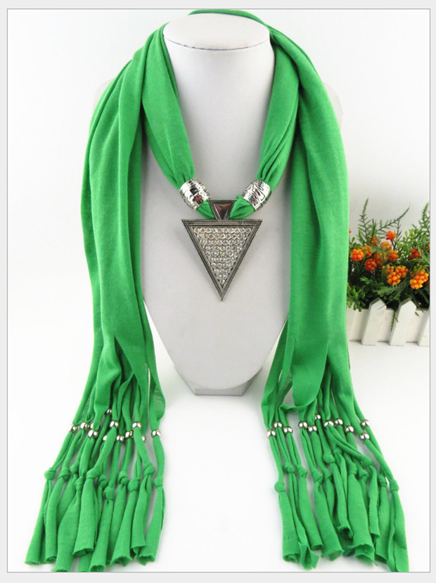 2015 Lovely new arrival hot selling ladies' scarf brand big cotton lady scarf Full diamond triangle alloy pendant jewelry scarf(China (Mainland))