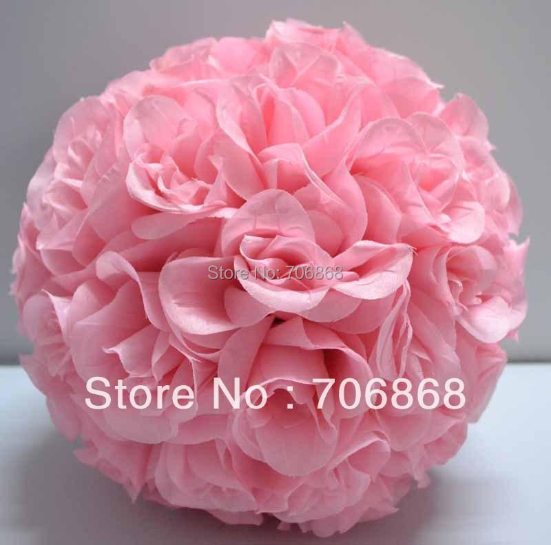 Wedding centerpiece Light Pink Color Artificial silk kissing rose flower ball 30cm 10pcs/lot wedding Church(China (Mainland))