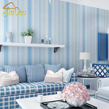 Mediterranean Style Blue Pink Vertical Stripes Non-woven Wallpaper Mural Bedroom Boys And Girls Children's Room Wall Paper Decor(China (Mainland))