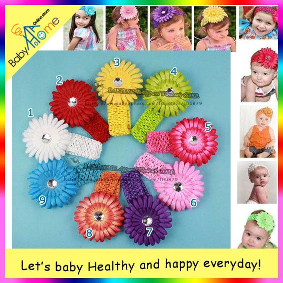NEW Crochet headband + Gerbera Daisy flower + clip, aligator grip children headbands kid's accessories free shipping.