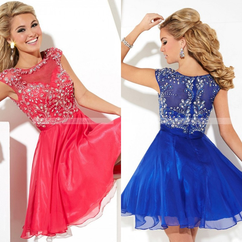 2014 Cute Short Prom Dress High Neck Chiffon Crystal ...