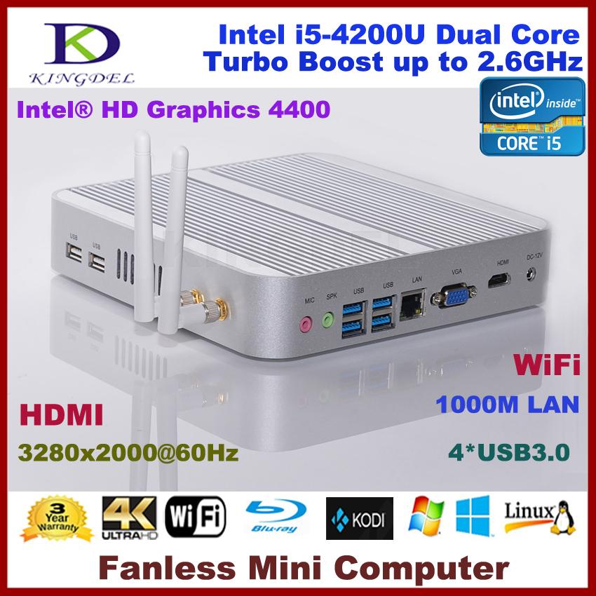 i5 4200u Dual Core Fanless Mini pc linux computer intel 2GB Ram+64G SSD,3D gaming pc,4*USB 3.0,WIFI,Metal case,HDMI(China (Mainland))