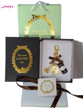 2015 New Key chain France Macarons Effiel Tower Keychains New Year Gift Box Ribbon Handbag Black free shipping 13 colors(China (Mainland))