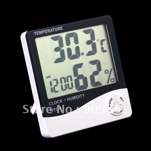 30pcs Mini Digital Thermometer Hygrometer With Large LCD Screen Display Portable Temperature Humidity Tester And Clock Hot Sale(China (Mainland))