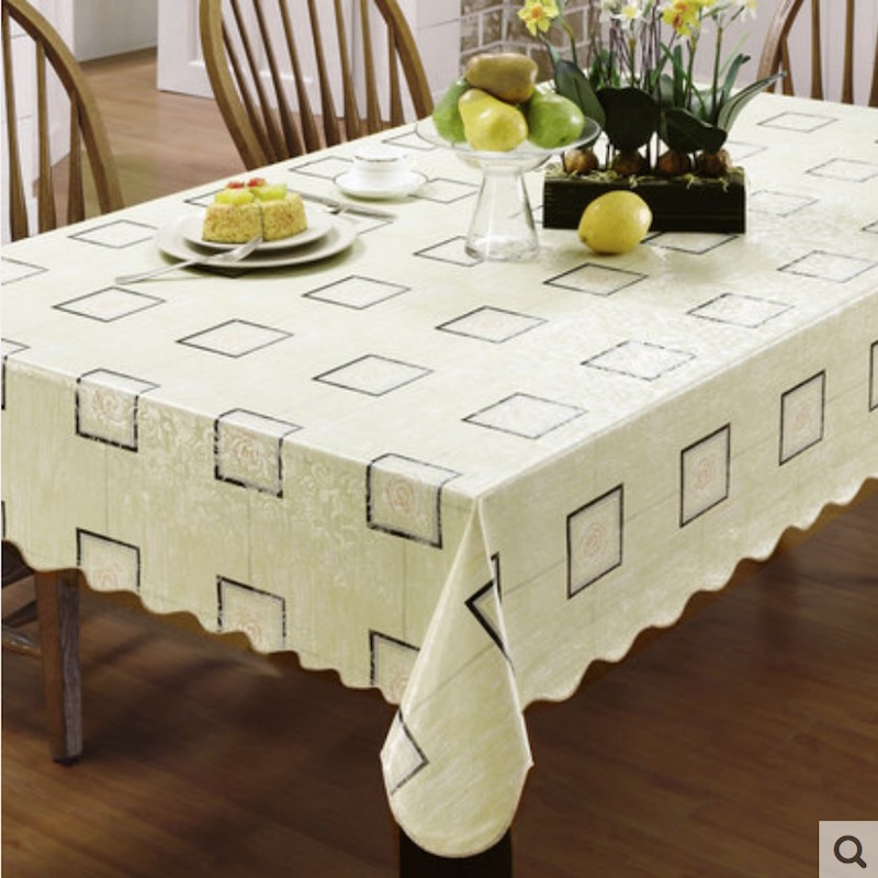 Flannel Backed Vinyl PVC Tablecloth Plastic Waterproof Table Cloth Spread Cover Rectangular Square Round 106-265cm 9 Sizes(China (Mainland))