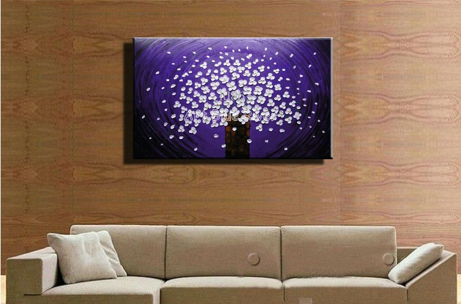 Buy Abstract Knife paint modern wall art canvas handmade Purple flower picture oil painting on canvas bedroom living room decoration cheap