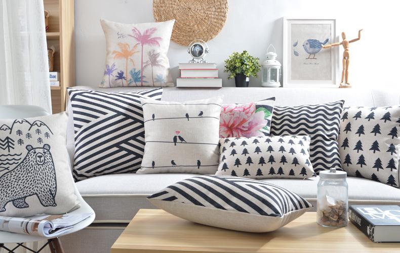 retro decorativo almohada blanco y negro geomtrica decoracin del hogar almohada creativo abstraccin diseador cojines decorativos