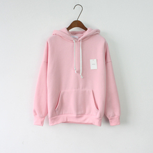 2016 Women Hoodies Sweatshirt Long Sleeve Pink Casual Harajuku Sport Pocket Design Hoodie For Women Pullovers Sudaderas Mujer(China (Mainland))