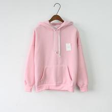 2016 Women Hoodies Sweatshirt Long Sleeve Pink Casual Harajuku Pocket Design Winter Hoodie For Women Pullovers Sudaderas Mujer