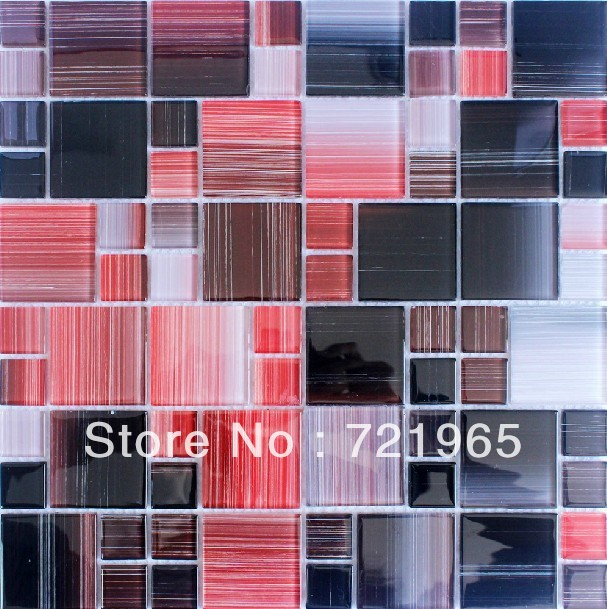 red glass mosaic tile kitchen backsplash cgmt170 black