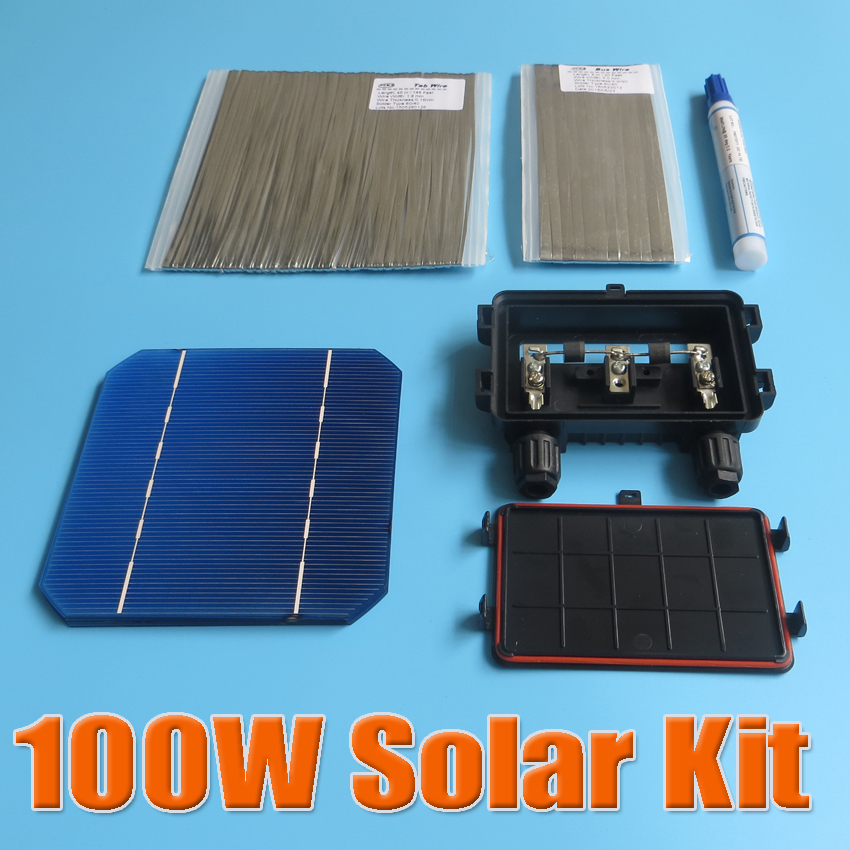 100W DIY Solar Panel Kit 5x5 125 Monocrystalline 100Watt Mono solar cell tab wire Bus wire Flux pen Junction Box(China (Mainland))