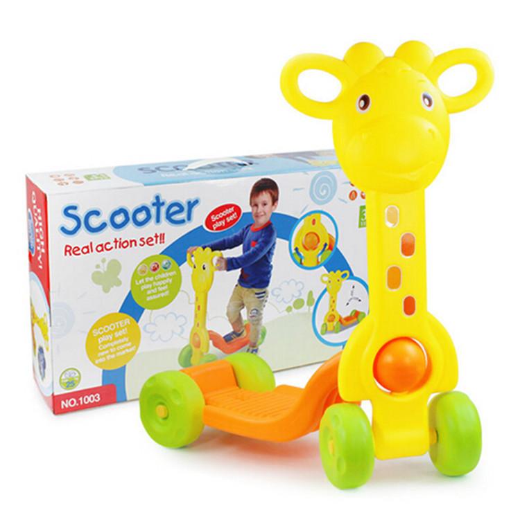 Children cartoon mini micro scooter /kick / baby walker 4 wheels /outdoor ride kids toys - Reborn Baby Store store