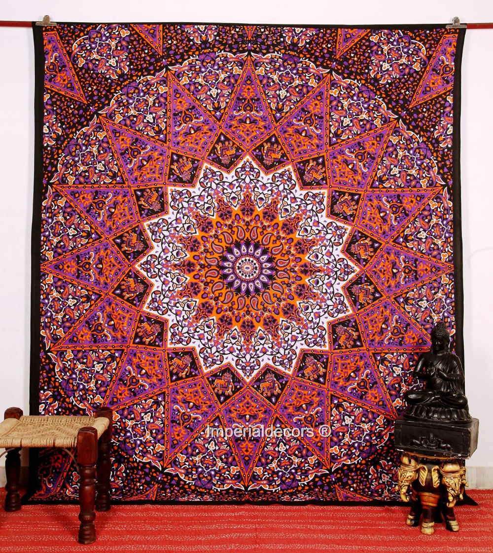 Indian Tapestry Kaleidoscopic Tapestry Bohemian Bedding Hippie Wall