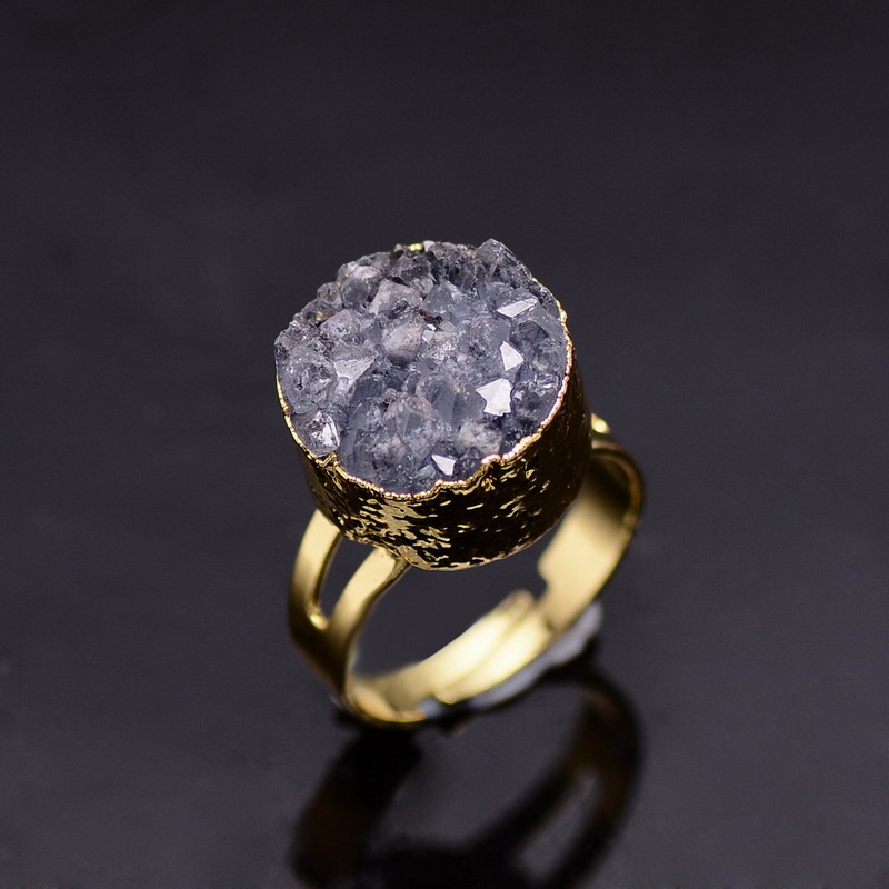 SEDmart Natural Stone Druzy Quartz Crystal Women Rings Drusy Geode Amethyst R