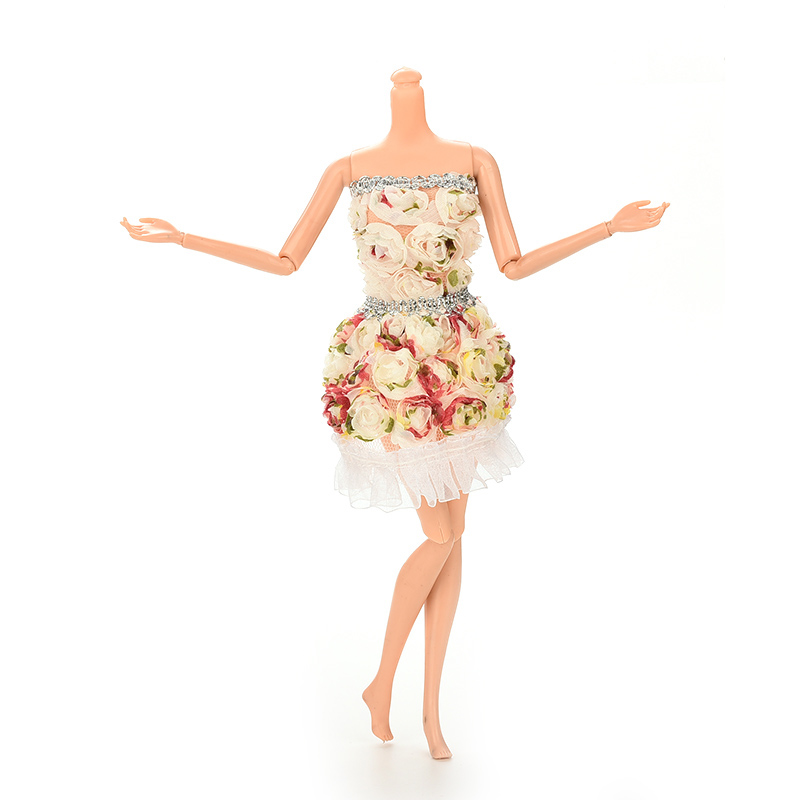 Гаджет  New Fashion Flower Doll Dresses Package Hip Skirt For Barbie Doll Handmade Dolls Accessories Clothes None Игрушки и Хобби