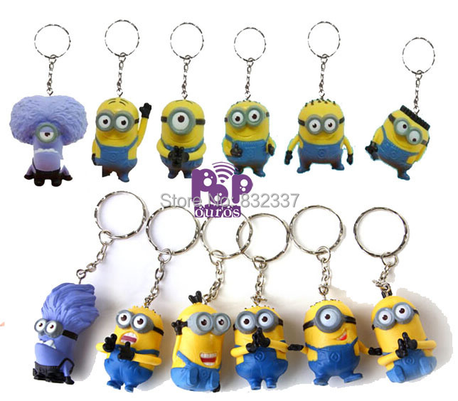 Pop 12x PVC Despicable Me Action font b Figures b font Yellow Minions With Keychain Despicalbe