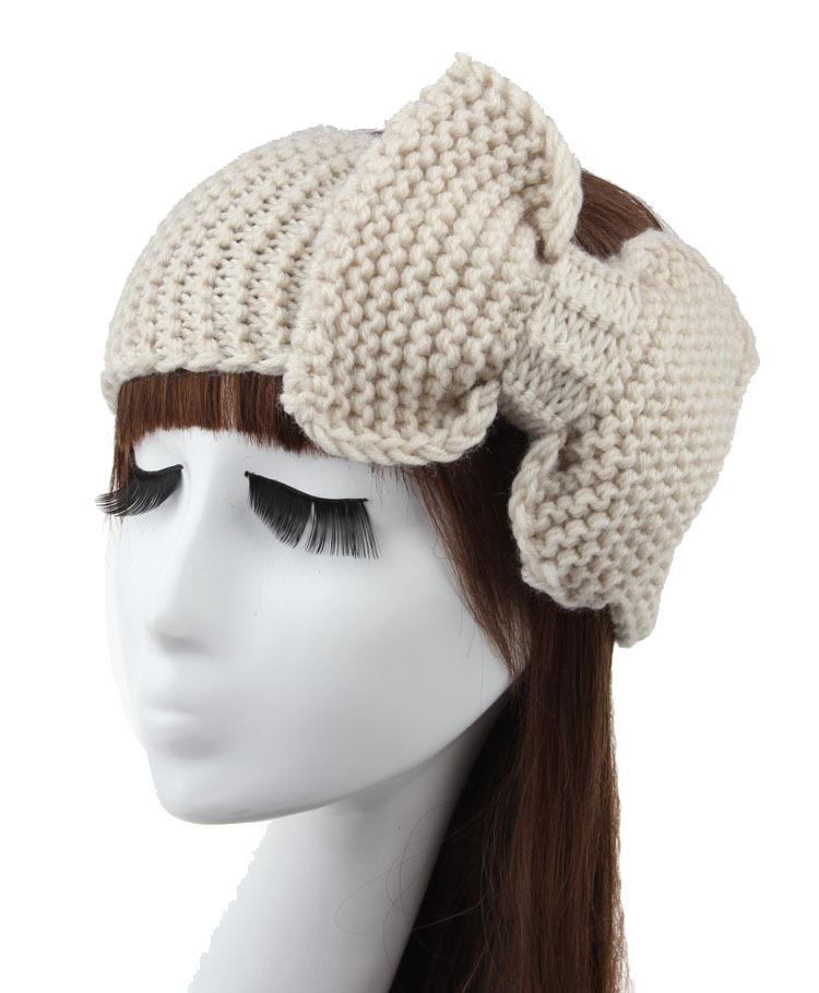 Women Lady Crochet Bow Knot Turban Knitted Head Wrap Hairband Winter Ear Warmer Headband Hair Band Accessories 38(China (Mainland))