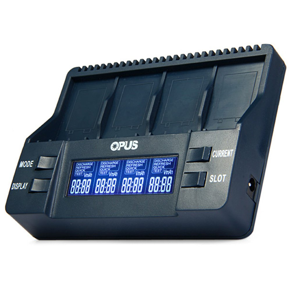 Opus BT-C900 Intelligent Digital 4 Slots LCD Multifunction 9V Li-ion NiMh Battery Charger Tools EU Adapter Rechargeable battery(China (Mainland))