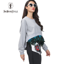 [TWOTWINSTYLE] streetwear cropped hoodies sweatershirt women attached feather long sleeve oversized autumn 2016 new fashion top(China (Mainland))