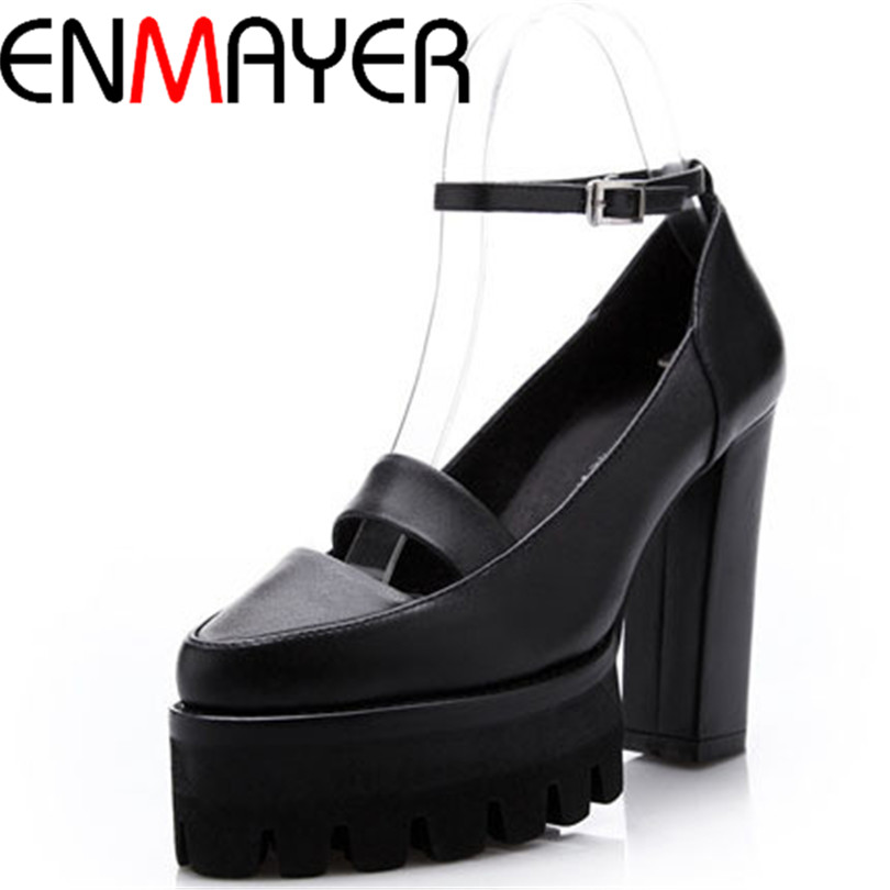 ENMAYER Ankle Strap thick heels Platform pumps Genuine Leather pumps Pointed Toe Buckle Strap white and  black women pumps