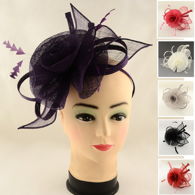 Fascinators Headband Hat Uk Fascinator Tea Party Hat Weddings Hat Women lady hair Accessories Flower Organza with Feather 120mm(China (Mainland))