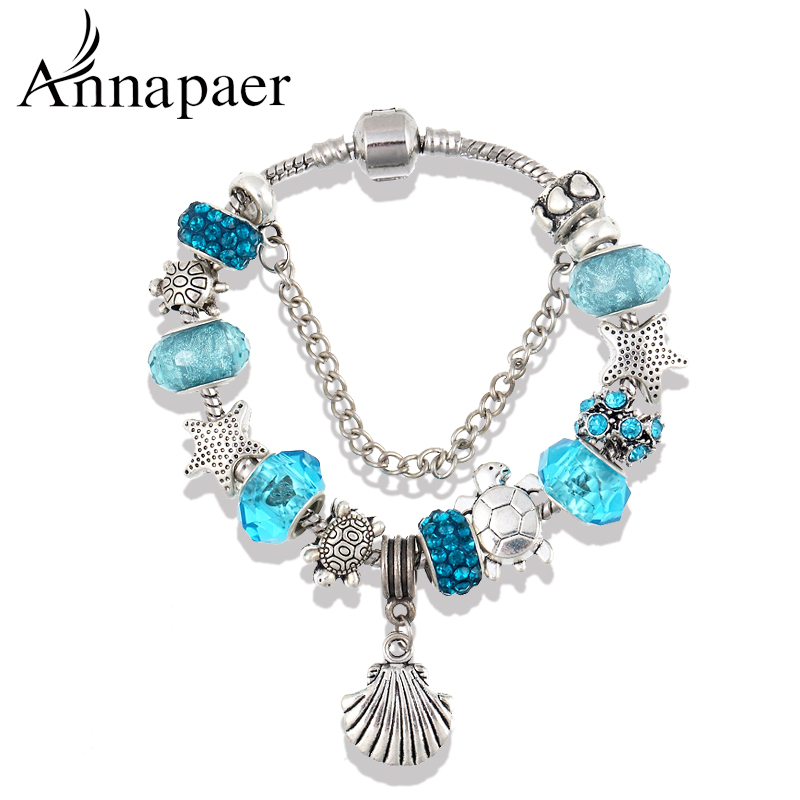 2016 Blue Glass/Crystal Starfish Charm Beads Bracelets & Bangles for Women Diy Jewelry Pulseira Gift B15084(China (Mainland))