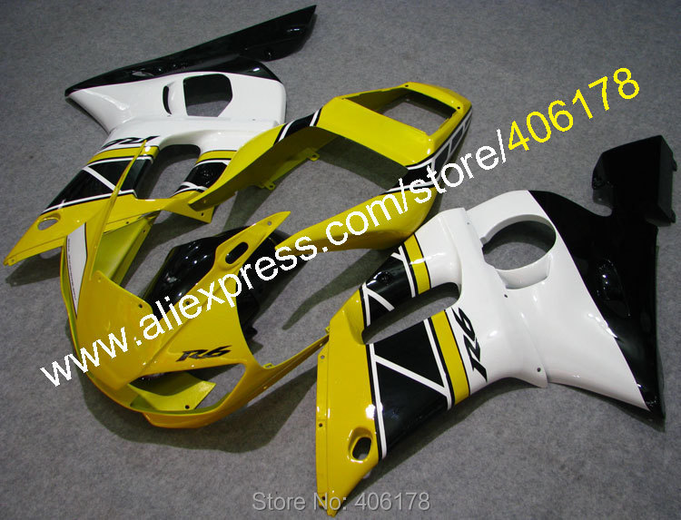 Hot Sales,Yellow Black White For Yamaha r6 Fairing 1998-2002 YZF600R YZF R6 98 99 00 01 02 Motorcycle Parts (Injection molding)(China (Mainland))