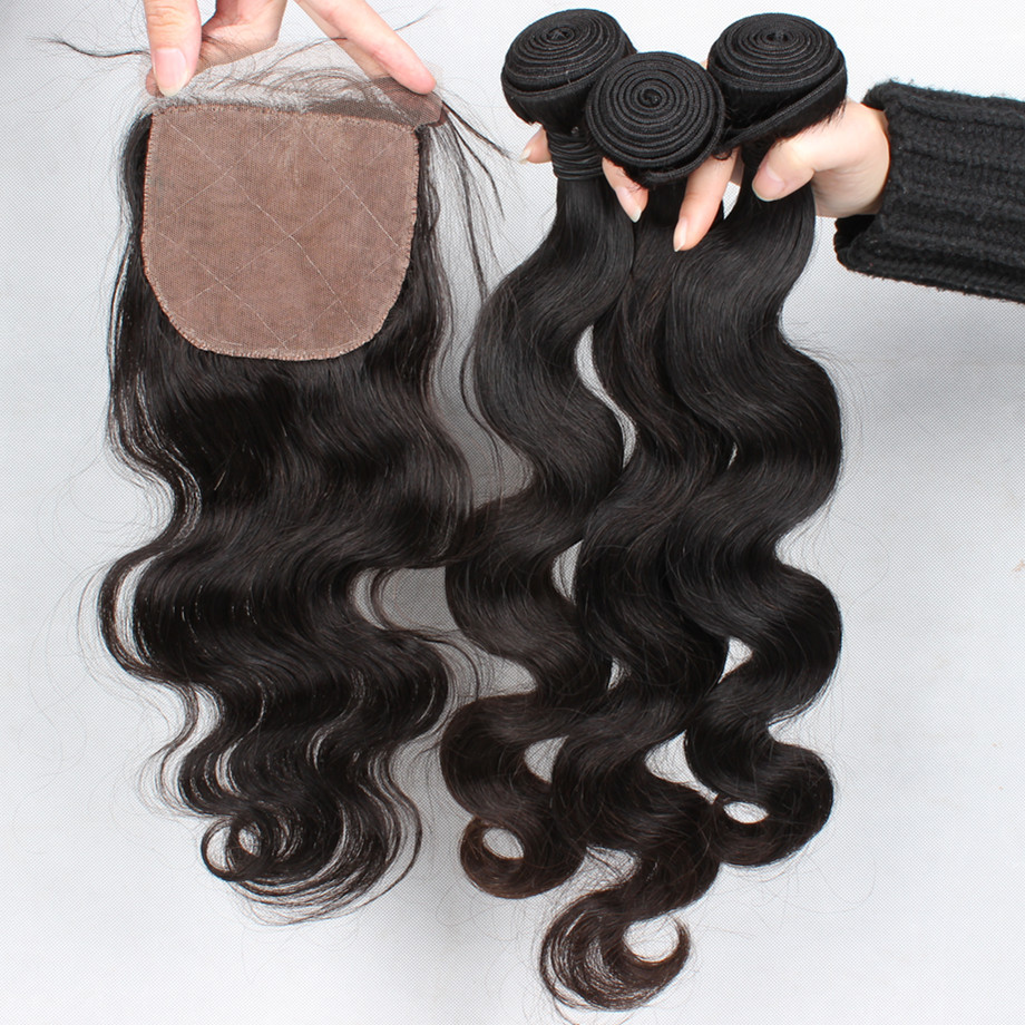 Free shipping Peruvian virgin hair body wave middle part silk base closure with 4PCS bundles unprocessed 5A Peruvian curly hair<br><br>Aliexpress