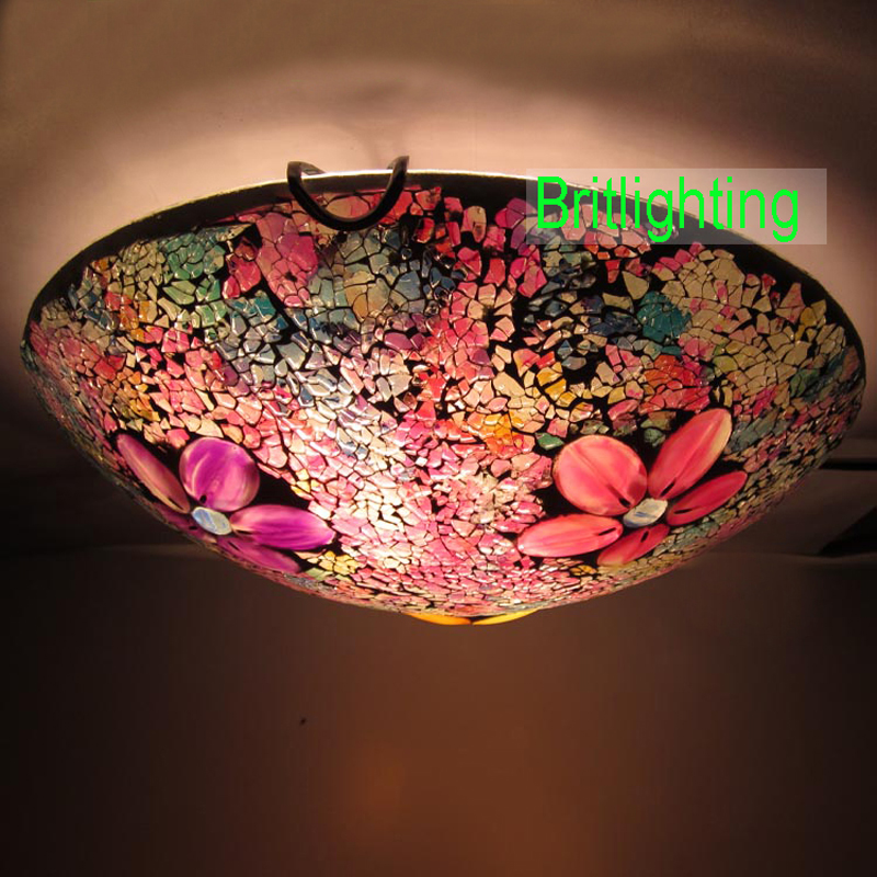 mosaic glass led ceiling lamp traditional flush mount ceiling lights. Black Bedroom Furniture Sets. Home Design Ideas