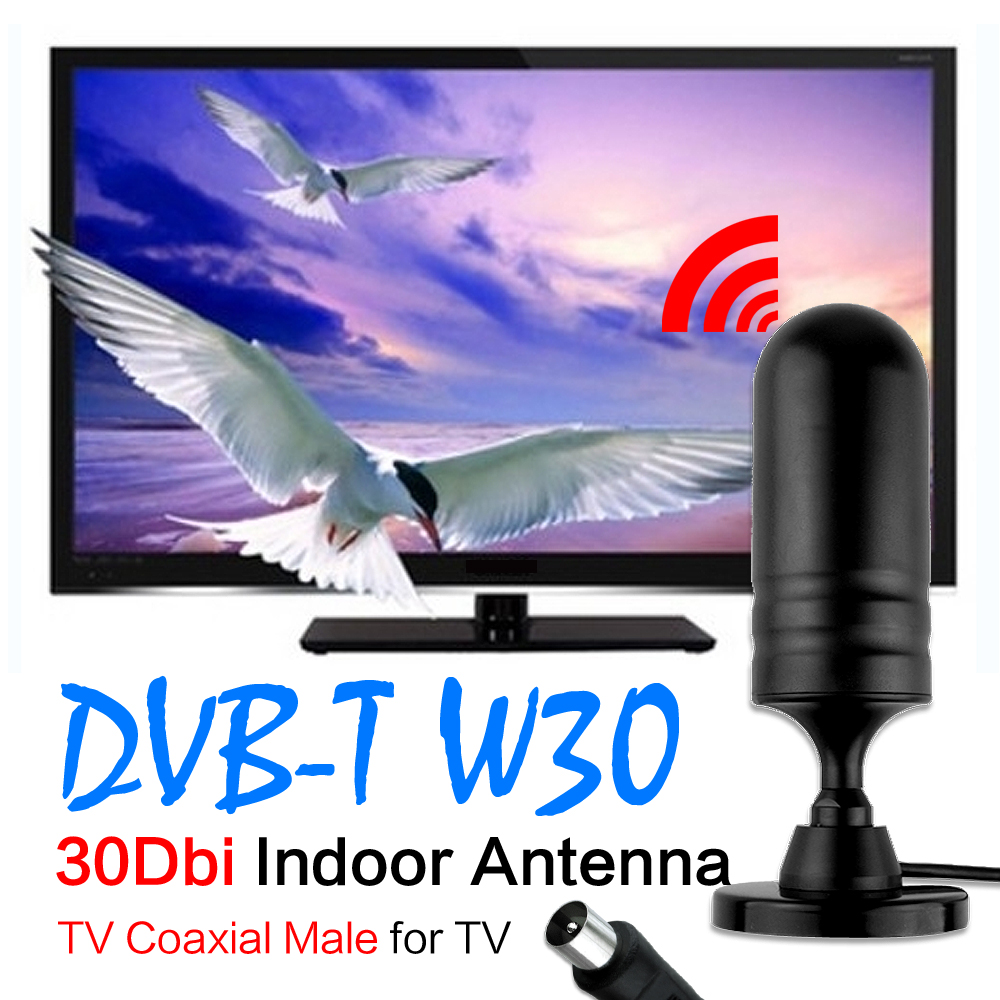 2016 NEW 30 dBi Digital TV Coaxial Male IEC Connector Digital Freeview Antenna Aerial For DVB-T TV HDTV Indoor HD Gain EL0481(China (Mainland))