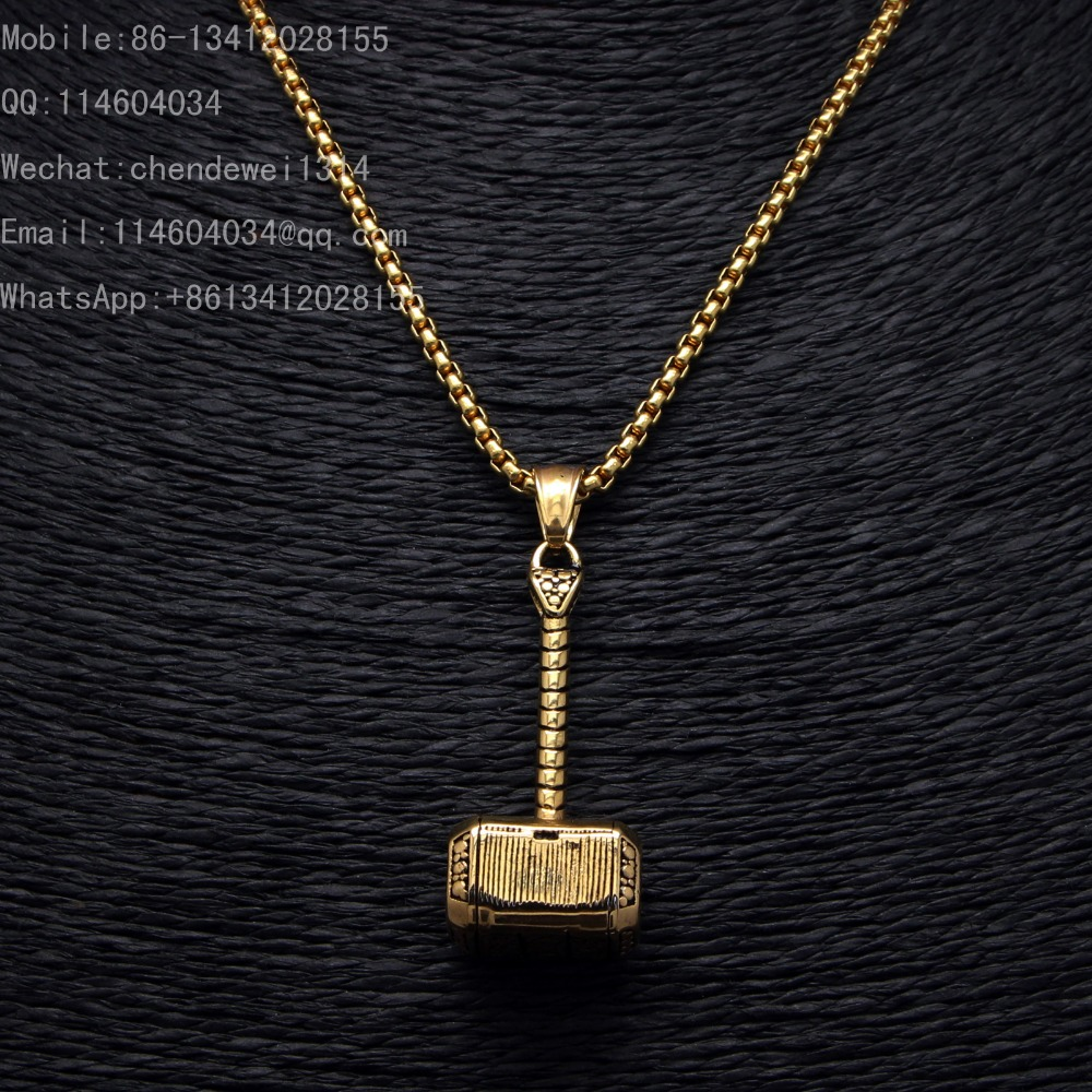 2016 Stainless Steel Black Gold New Fashion Pendant Thor's Hammer Mjolnir From The Avengers Thor Men jewelry(China (Mainland))