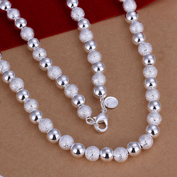 8MM sanding beads silver plated Necklace Fashion Jewelry