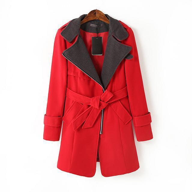 Autumn Winter 2014 Women's Oblique Zipper Large Lapel Badges Woolen Coat European American Big S M LXL - lady's home come store