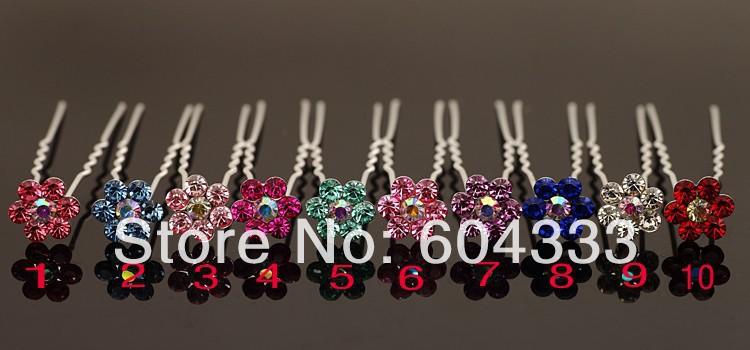 Small Flower  Gem Crystal  Hair Pin Fashion Bridal Hair Pins Wedding Jewelry Hair Ornaments Accessories Lots 200pcs