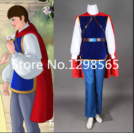Fairy Tale Snow White and the Seven Dwarfs the Handsome Prince Cosplay Uniform Suit Custom-made Full Set Men Halloween Costumes(China (Mainland))