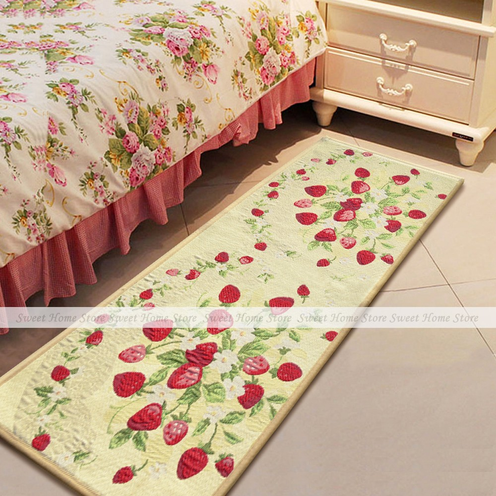 Lovely Red Strawberry Fabric Kitchen Rug Runner Indoor Outdoor Door Mat 122x45cm(China (Mainland))