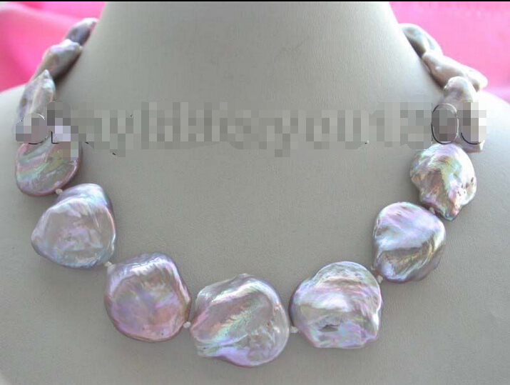 shipping 17 Genuine Natural 25mm Purple Reborn Keshi Pearl Necklace 14k<br><br>Aliexpress