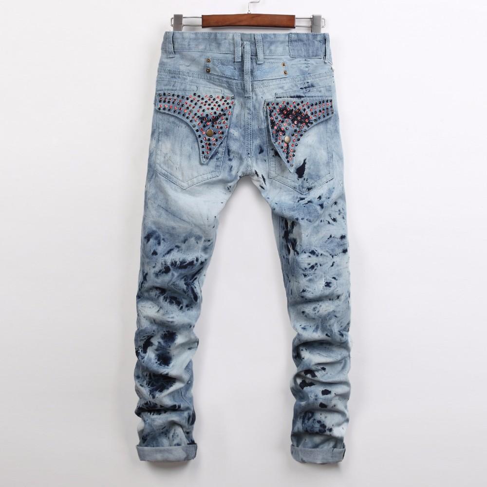 19 colors High Quality Mens Ripped Biker Jeans Cotton Black Slim Fit Motorcycle Jeans Men Vintage Distressed Denim Jeans Pants