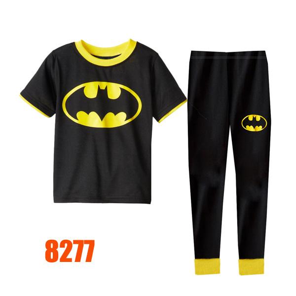 Baby Boys Black Batman Clothing sets Kids Autumn -Summer Pajamas Set New 2015 Wholesale Children Cosplay Clothes 8277(China (Mainland))