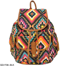 East Knitting QQ1708 New Vintage Brand 2015 Women Backpack School Bags For Girl Retro Geometric Print Backpack Canvas Daily Bag(China (Mainland))
