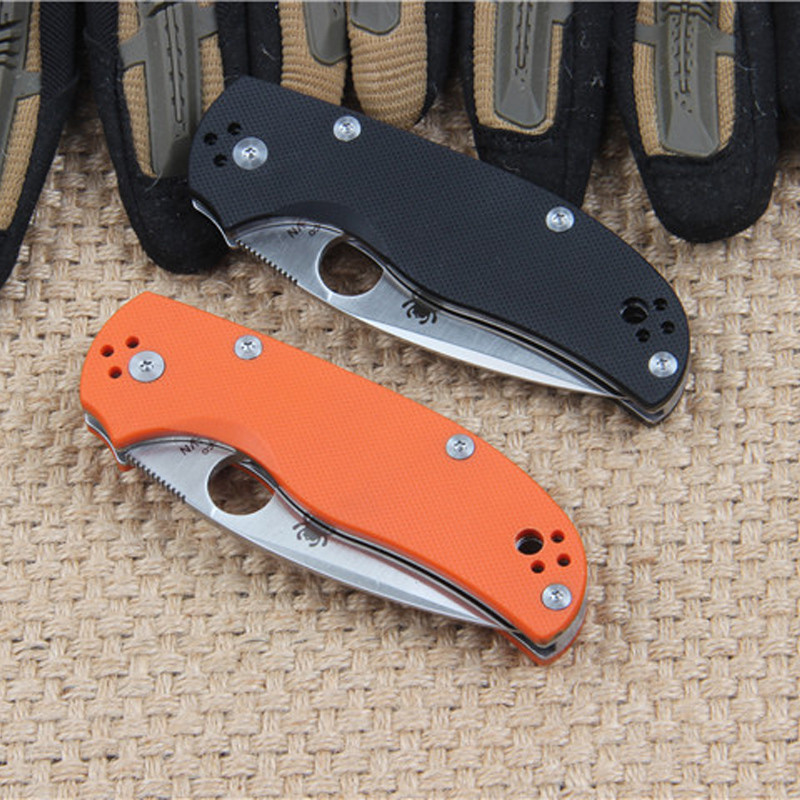 Buy Folding Knife C41 Spyderco Pocket Knife CPM S35VN Steel G10 Handle blade Camping tactical diagnostic-tools full length 175mm cheap